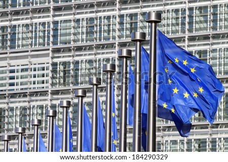 European flags in Brussels on European commission site - stock photo