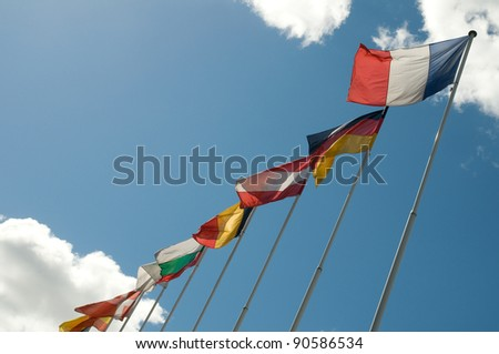 European flags in the sky.