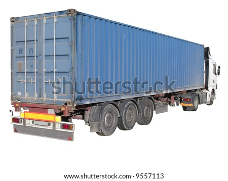 European flatbed 18-wheeler with metal container - stock photo