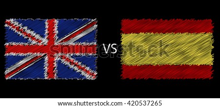 European football championship 2016 Flags Spain vs England - stock photo
