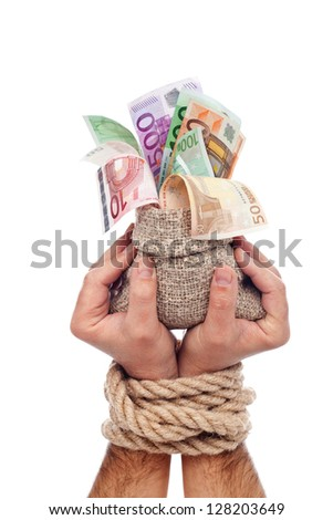 European funds concept with moneybag in tied up hands - isolated - stock photo