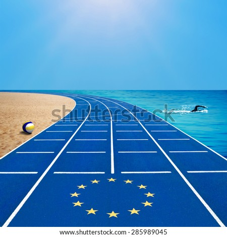 European games template with flag on running track, swimmer and beach volleyball against blue sky - stock photo