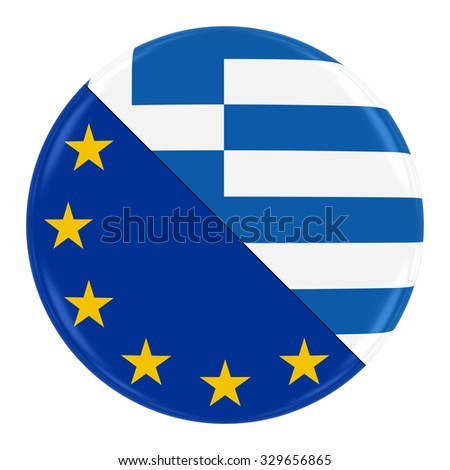 European/Greek Relations Concept Image - Badge with Split Flags of the European Union and Greece