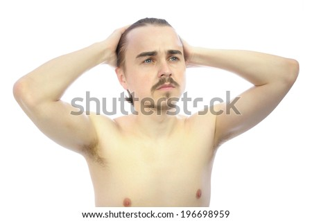 European guy with arms behind his head isolated - stock photo