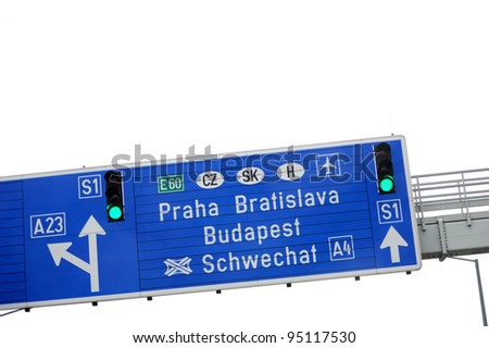 European highway sign - direction and exit sign to Praha, Bratislava and Budapest. Useful file for your flyer about European road infrastructure and other - stock photo