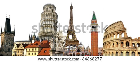 european holidays - travelling background - stock photo