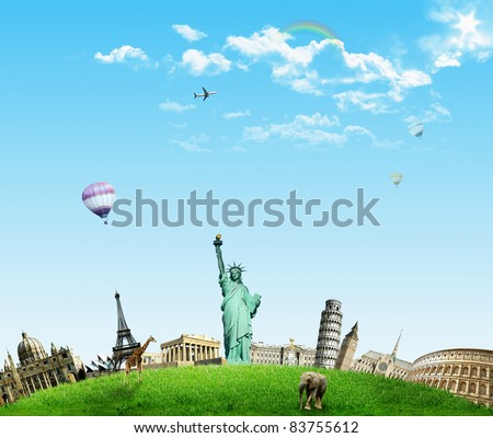 European holidays - travelling background. concept - stock photo