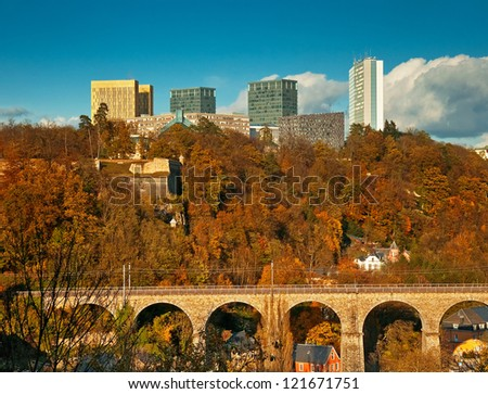 European institutions buildings: Court of Auditors, Court of Justice, European Investment Bank and European Parliament - Luxembourg city - stock photo