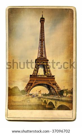 European landmarks vintage cards series - Paris - stock photo