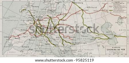 European main railways old map (end of 19th century). By Paul Vidal de Lablache, Atlas Classique, Librerie Colin, Paris, 1894 (first edition) - stock photo