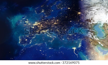 European Map Composition - Energy Auras Effect (Elements of this image furnished by NASA)