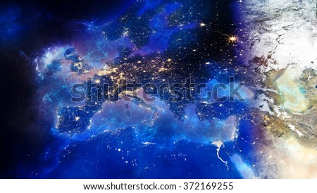 European Map Composition - Energy Auras Effect (Elements of this image furnished by NASA) - stock photo