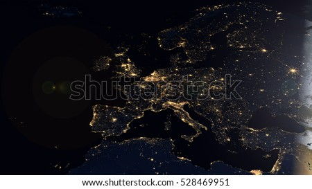 European Map Composition - Satellite Space View (Elements of this image furnished by NASA)
