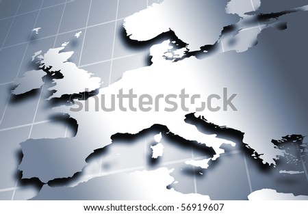 European map in metal colors against a squared background. - stock photo