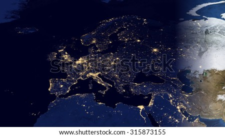 European Map Space View (Elements of this image furnished by NASA) - stock photo