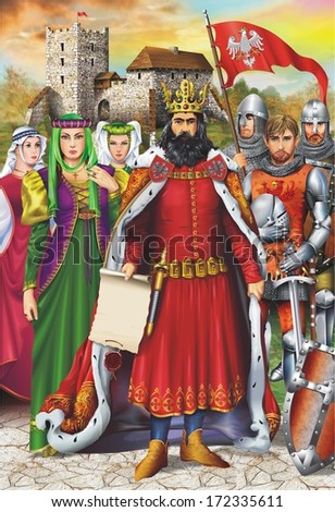 European Medieval King and Royal Retinue with Medieval Castle in Background. Vertical Artistic Illustration.