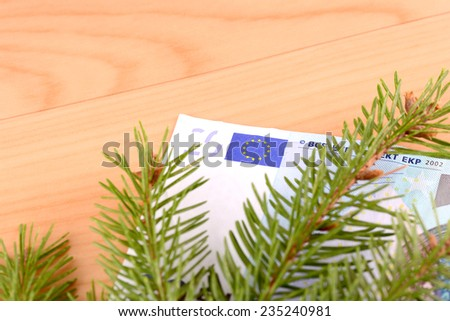 european money and green eve on wooden background - stock photo