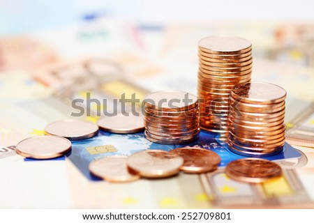European money euros and credit card background - stock photo