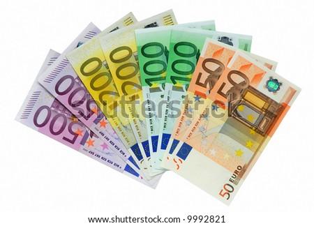 European Money isolated over white background - stock photo