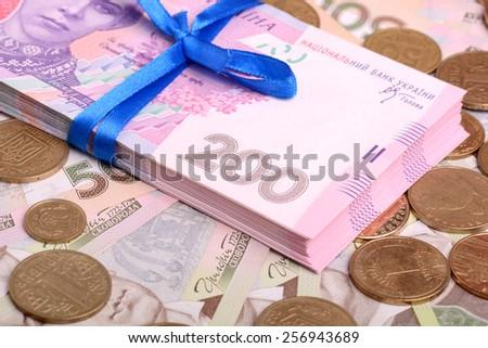european money ukrainian hryvnia and money bills - stock photo