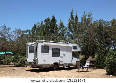 European Motorhome on a camping in Portugal - stock photo