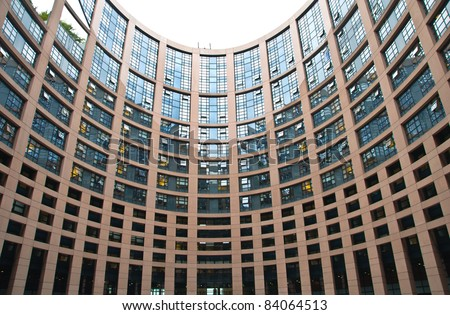 European Parliament building inside yard - stock photo