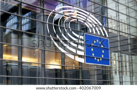 European Parliament in Brussels (Bruxelles), Belgium, main office. Stock photo image. January 2016. - stock photo