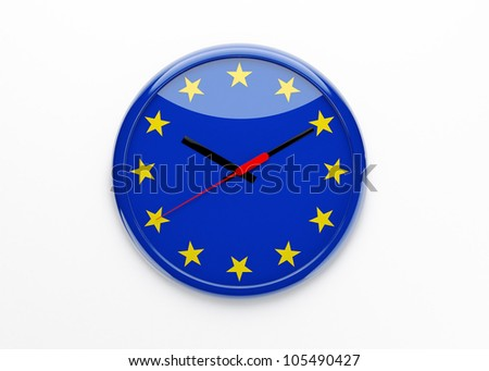 European political crisis concept. Euro flag 3d clock isolated.