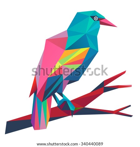 European Rollers (Coracias garrulus). Illustration of a many triangles. - stock photo