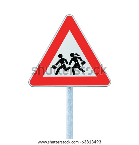 European School Crossing Roadside Warning Sign, Isolated - stock photo