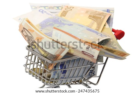 european shopping cart full of euro money on white background - stock photo