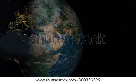 European side of the globe (Elements of this image furnished by NASA)