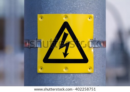 European sign of high voltage. Warning about dangerous electricity.