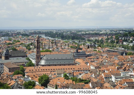 european skyline of heidelberg city ,aerial view from the castle. - stock photo