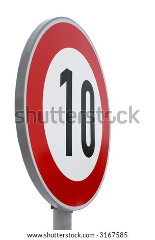 European speed limit road sign isolated on white. Speed limit - 10 kmph - stock photo
