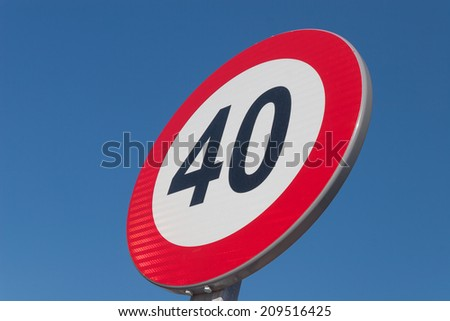 European Speed limit sign 40 km per hour - stock photo
