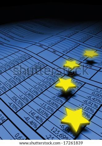 european stars over the spreadsheet - stock photo