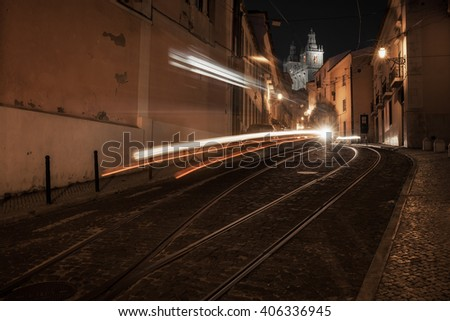 European street at night, Lisbon, Portugal - stock photo