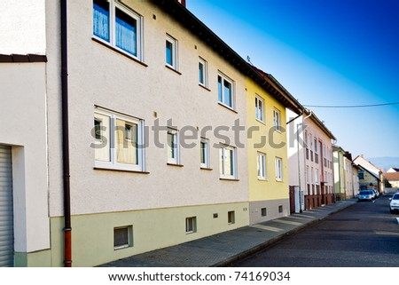 European suburban district with buildings in perspective - stock photo