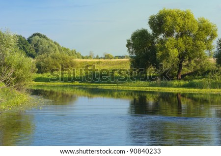 European Summer River Landscape (Russia) - stock photo