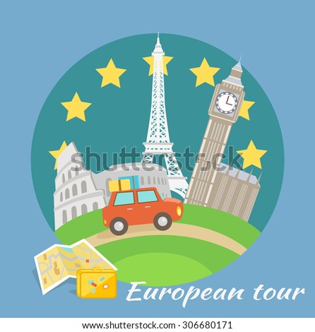 European traveling tour, touristic banner. Composition with famous european world landmarks icons. Car around Europe. Web banners, marketing and promotional materials, presentation. Raster version - stock photo