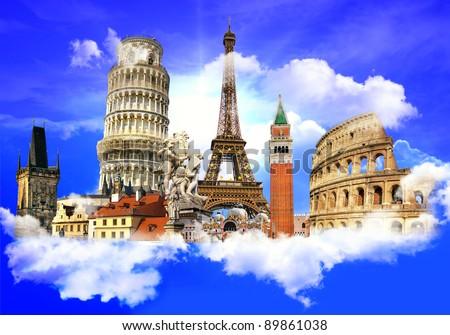 european traveling - touristic background - stock photo