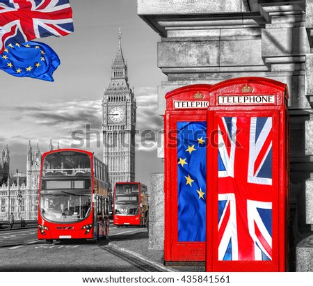 European Union and British Union flag on phone booths against Big Ben in London, England, UK, Stay or leave, Brexit