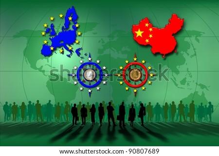 European Union and China: euro and yuan - stock photo