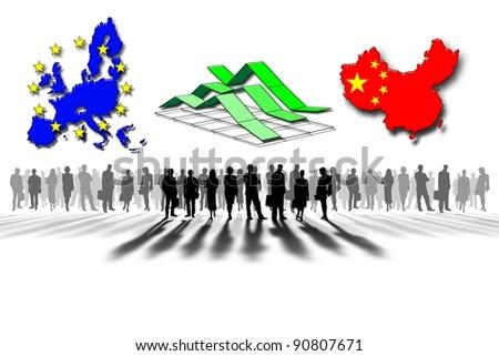 European Union and China: statistics - stock photo