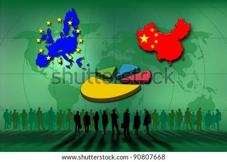 European Union and China: statistics pie - stock photo