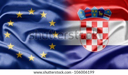 European Union and Croatia - stock photo