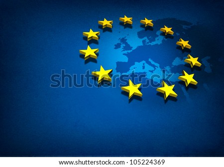 European Union and Europe countries including France Germany Italy and England surrounded by blue ocean with three dimensional yellow flag stars on a blue grunge background. - stock photo