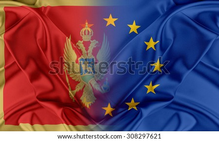European Union and Montenegro. The concept of relationship between EU and Montenegro. - stock photo