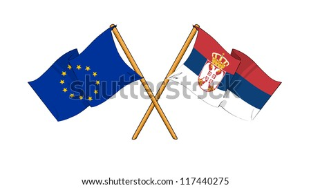 European Union and Serbia alliance and friendship - stock photo